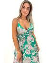 GREEN - 'MAISIE' - SATIN SPAGHETTI AZTEC PRINT MAXI DRESS