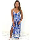 BLUE - 'MAISIE' - SATIN SPAGHETTI PRAISLEY PRINT MAXI DRESS