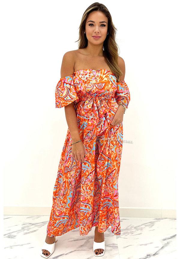 ORANGE - 'LAS PALMAS' - INSPIRED OFF SHOULDER MAXI DRESS