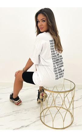 WHITE - 'FCK BRANDS' - INSPIRED OVERSIZED TEE
