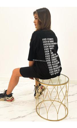 BLACK - 'FCK BRANDS' - INSPIRED OVERSIZED TEE