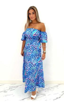 BLUE - 'LAS PALMAS' - INSPIRED OFF SHOULDER MAXI DRESS