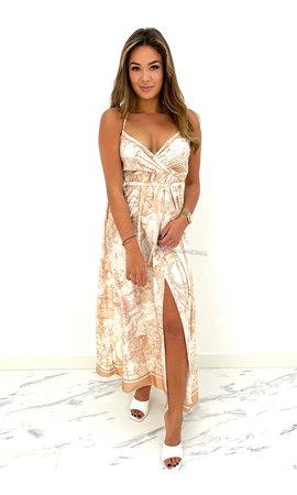 BEIGE - 'DILAYA' - INSPIRED SATIN MAXI SPAGHETTI DRESS