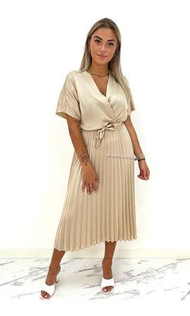 BEIGE - 'CHLOE' - SATIN PLISSE MAXI DRESS