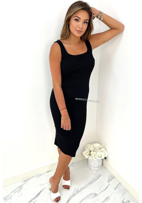 BLACK - 'FABIEN' - PREMIUM QUALITY BASIC RIBBED DRESS