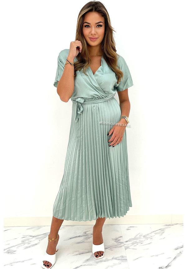 MINT GREEN - 'CHLOE' - SATIN PLISSE MAXI DRESS