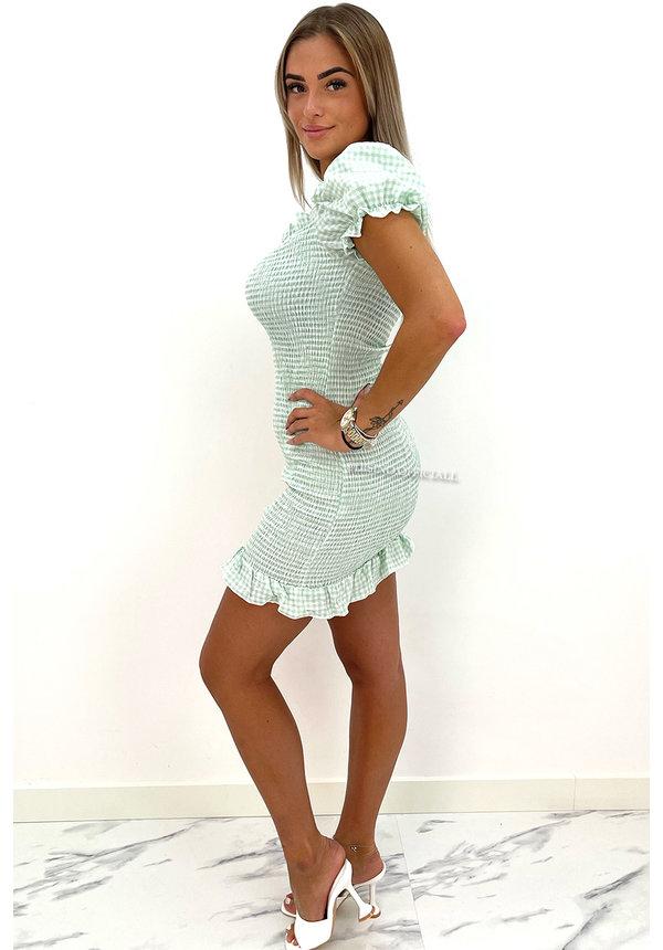 GREEN - 'BECCA' - OFF SHOULDER BARDOT DRESS