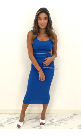 ROYAL BLUE - 'ALEXIA' - RIBBED CLASSY TWO PIECE