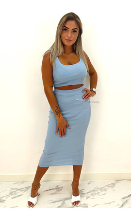 LIGHT BLUE - 'ALEXIA' - RIBBED CLASSY TWO PIECE