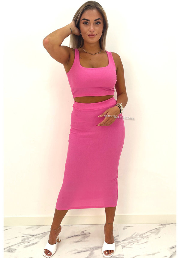 CANDY PINK - 'ALEXIA' - RIBBED CLASSY TWO PIECE