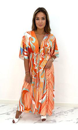 ORANGE - 'ESTELLE' - INSPIRED PRINT KIMONO MAXI DRESS