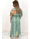 GREEN - 'ESTELLE' - INSPIRED PRINT KIMONO MAXI DRESS