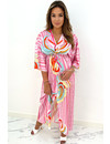 PINK - 'ESTELLE' - INSPIRED PRINT KIMONO MAXI DRESS