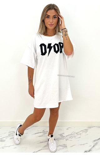 WHITE/BLACK - 'COZY THUNDER' - OVERSIZED TEDDY SLOGAN  TEE DRESS