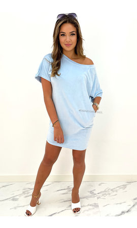 LIGHT BLUE - 'JASMINE DRESS' - COZY VELVET COMFY DRESS