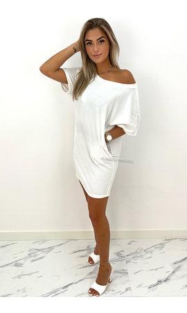 WHITE - 'JASMINE DRESS' - COZY VELVET COMFY DRESS