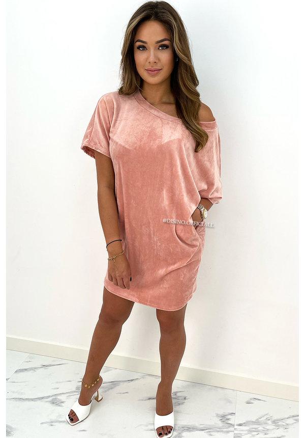 PEACH - 'JASMINE DRESS' - COZY VELVET COMFY DRESS