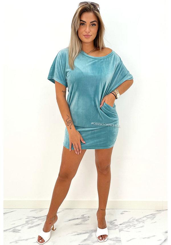 TURQUOISE - 'JASMINE DRESS' - COZY VELVET COMFY DRESS