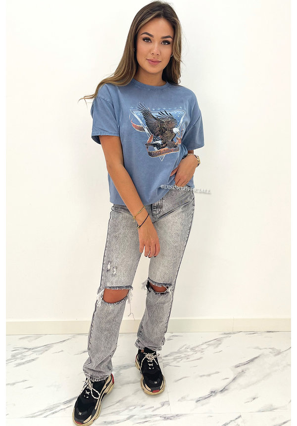 SEE SEE PARIS - GREY - HIGH WAIST RIPPED MOM JEANS