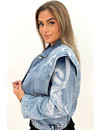 BLUE - 'BEVERLY' - PREMIUM QUALITY INSPIRED DENIM FLAMES JACKETS