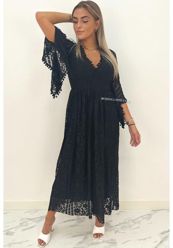 BLACK - 'COSTA RICA' - PREMIUM QUALITY LACE MAXI DRESS