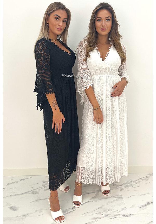 WHITE - 'COSTA RICA' - PREMIUM QUALITY LACE MAXI DRESS