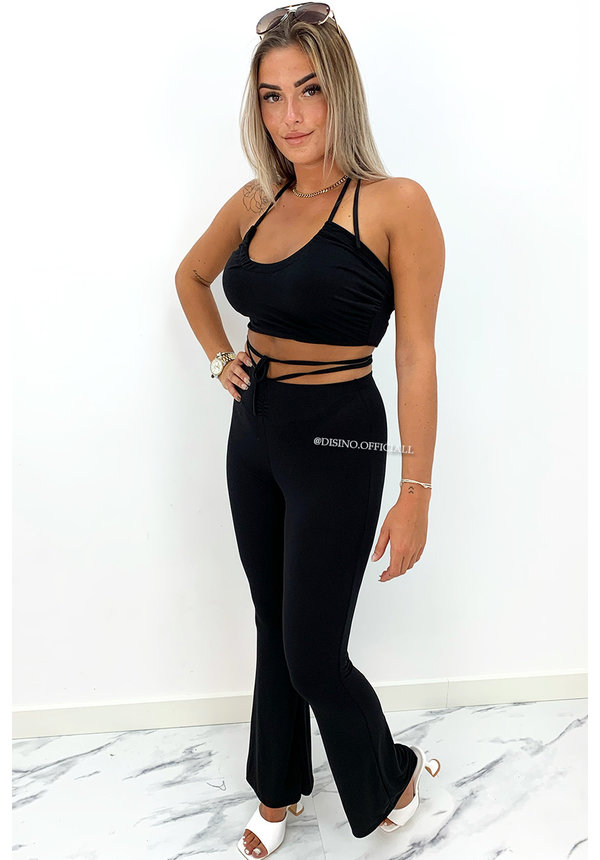BLACK - 'LOLA' - INSPIRED TWO PIECE FLARE SET