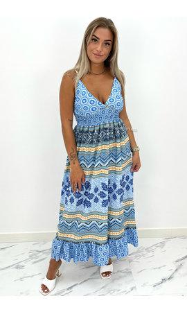 BLUE - 'AVERY' - SPAGHETTI AZTEC PRINT MAXI DRESS
