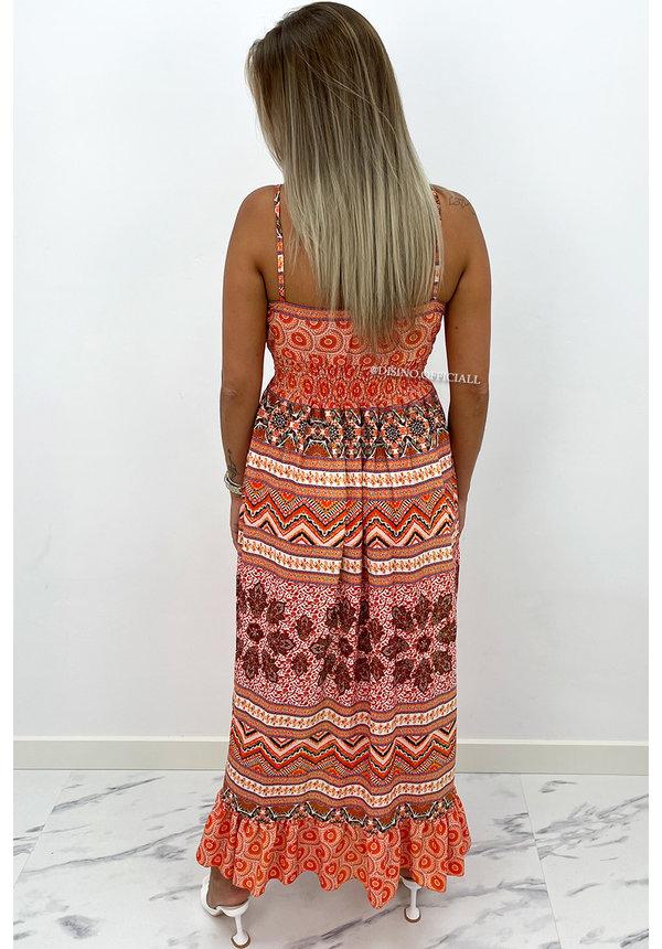 ORANGE - 'AVERY' - SPAGHETTI AZTEC PRINT MAXI DRESS