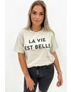 BEIGE - 'LA VIE EST BELLE' - PREMIUM QUALITY OVERSIZED TEE