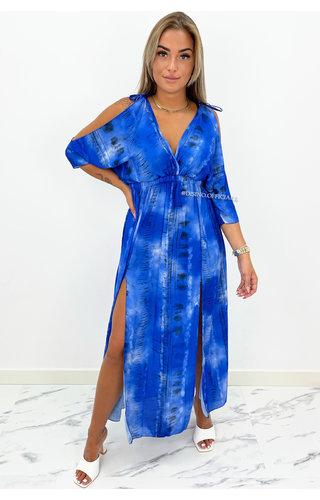 ROYAL BLUE - 'MALAGA' - OPEN ARM MAXI DRESS