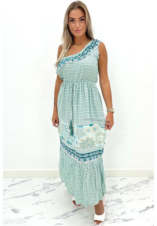 GREEN - 'JUNA' - ONE SHOULDER SUMMER MAXI DRESS