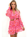 RED - 'MEREL' - FLORAL KNOT TOP + SKIRT TWO PIECE SET