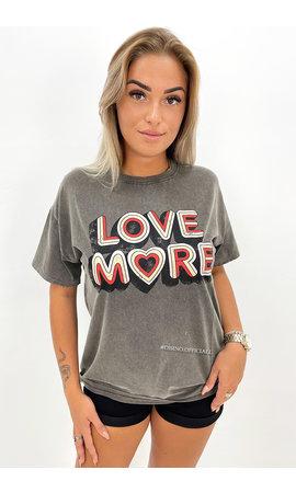 DARK GREY - 'LOVE MORE' - PREMIUM QUALITY OVERSIZED TEE