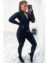 BLACK - 'TYRA WAFFLE' - INSPIRED PERFECT FIT WAFFLE JUMPSUIT