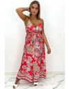 RED - 'MAISIE' - SATIN SPAGHETTI AZTEC PRINT MAXI DRESS