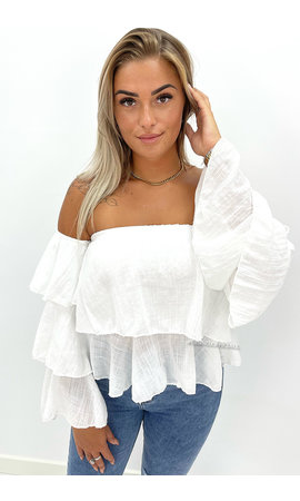 WHITE - 'LAYLA' - RUFFLE OFF SHOULDER TOP