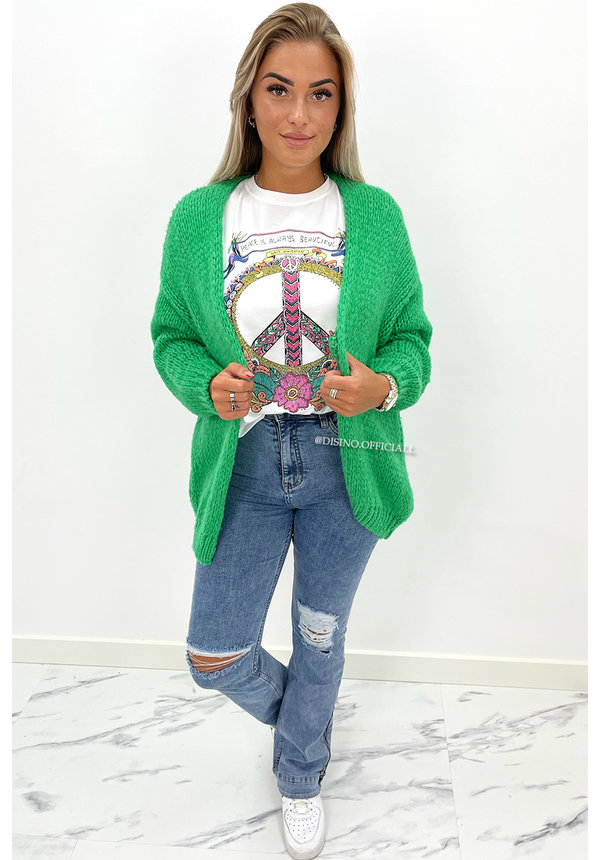 GREEN - 'ADRIANA' - COZY KNITTED BALLOON VEST