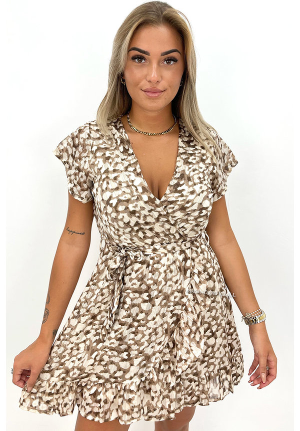BEIGE - 'LINDA' - LEOPARD PRINT RUFFLE DRESS