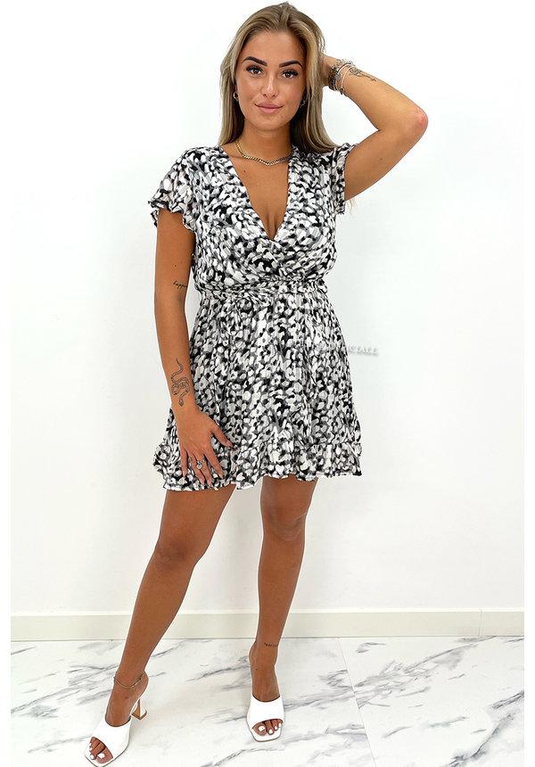 BLACK - 'LINDA' - LEOPARD PRINT RUFFLE DRESS