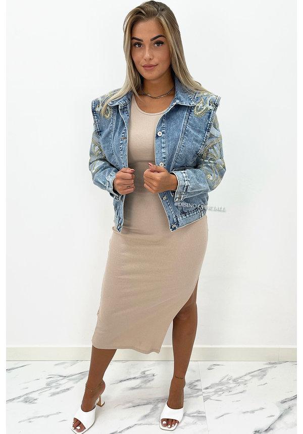 BEIGE - 'JENNY' - BASIC RIBBED SPLIT DRESS