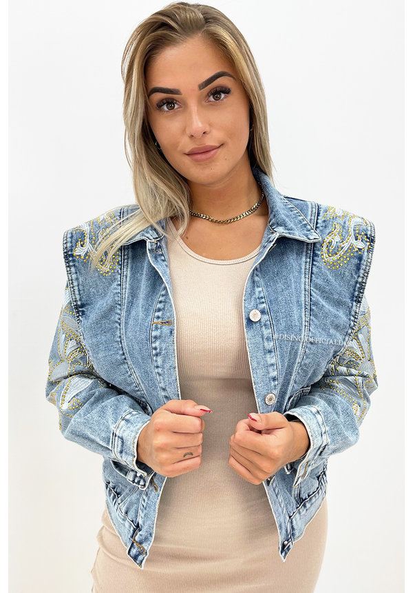 BLUE - 'BEVERLY STUDS' - PREMIUM QUALITY INSPIRED DENIM FLAMES JACKETS