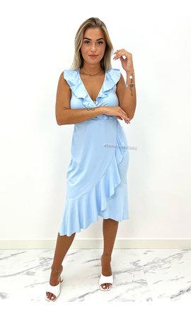 LIGHT BLUE - 'BELLA' - PREMIUM QUALITY TRAVEL RUFFLE WIKKEL DRESS
