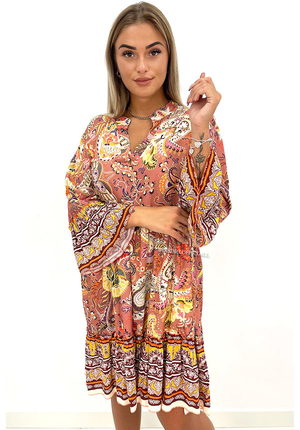 BEIGE - 'OLAYA' - PREMIUM QUALITY AZTEC PRINT A-LINE DRESS