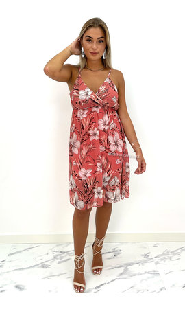 OLD PINK - 'CINDY' - FLORAL SPAGHETTI DRESS