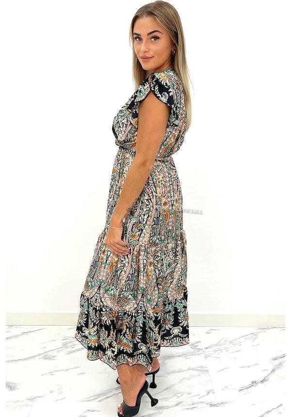 BLACK - 'NOVÉE' - PREMIUM QUALITY AZTEC PRINT MAXI DRESS