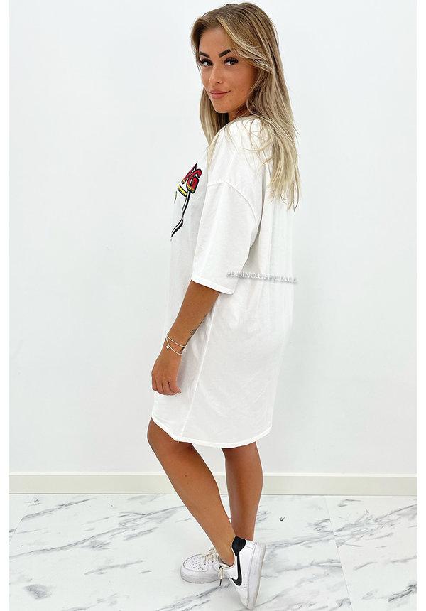 WHITE - 'ROLLING DEEP DRESS' - PREMIUM QUALITY OVERSIZED TEE DRESS
