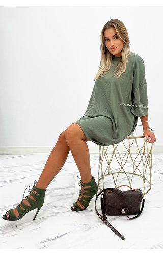KHAKI GREEN - 'ESTÉE' - PREMIUM QUALITY BIG TEE DRESS