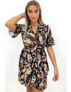 ORANGE - 'CARMEN DRESS' - RUFFLE AZTEC PRINT DRESS