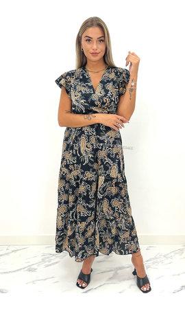 BLACK - 'CARMEN MAXI DRESS' - PREMIUM QUALITY AZTEC PRINT MAXI DRESS
